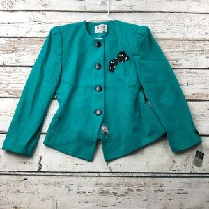 NWT VTG Teal Button Front Blazer Shoulder Pads